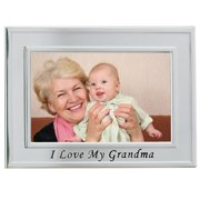 Brushed Metal 4x6 I Love Grandma Picture Frame - Sentiments Collection