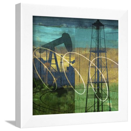 Oil Rig and Oil Well Collage Framed Print Wall Art By Sisa
