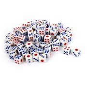 100 x White Red Blue Plastic Gaming Party Bar Casino Playing Dices