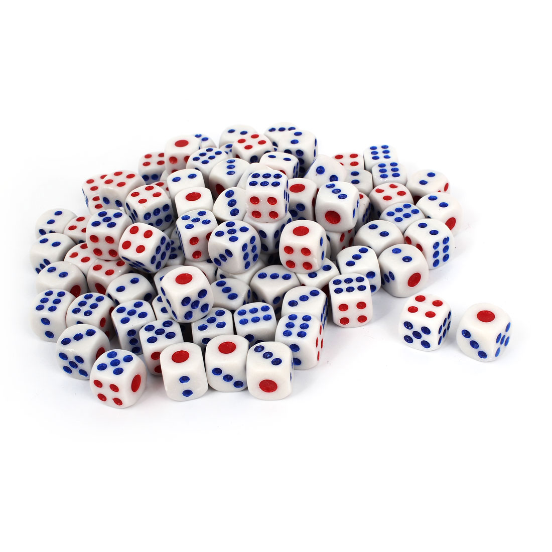 Unique Bargains Plastic Game Dices White Red Blue 100 Pcs