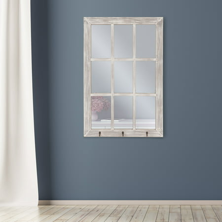 Patton Wall Decor 24x36 Distressed White Windowpane Wall Mirror with Hooks ()