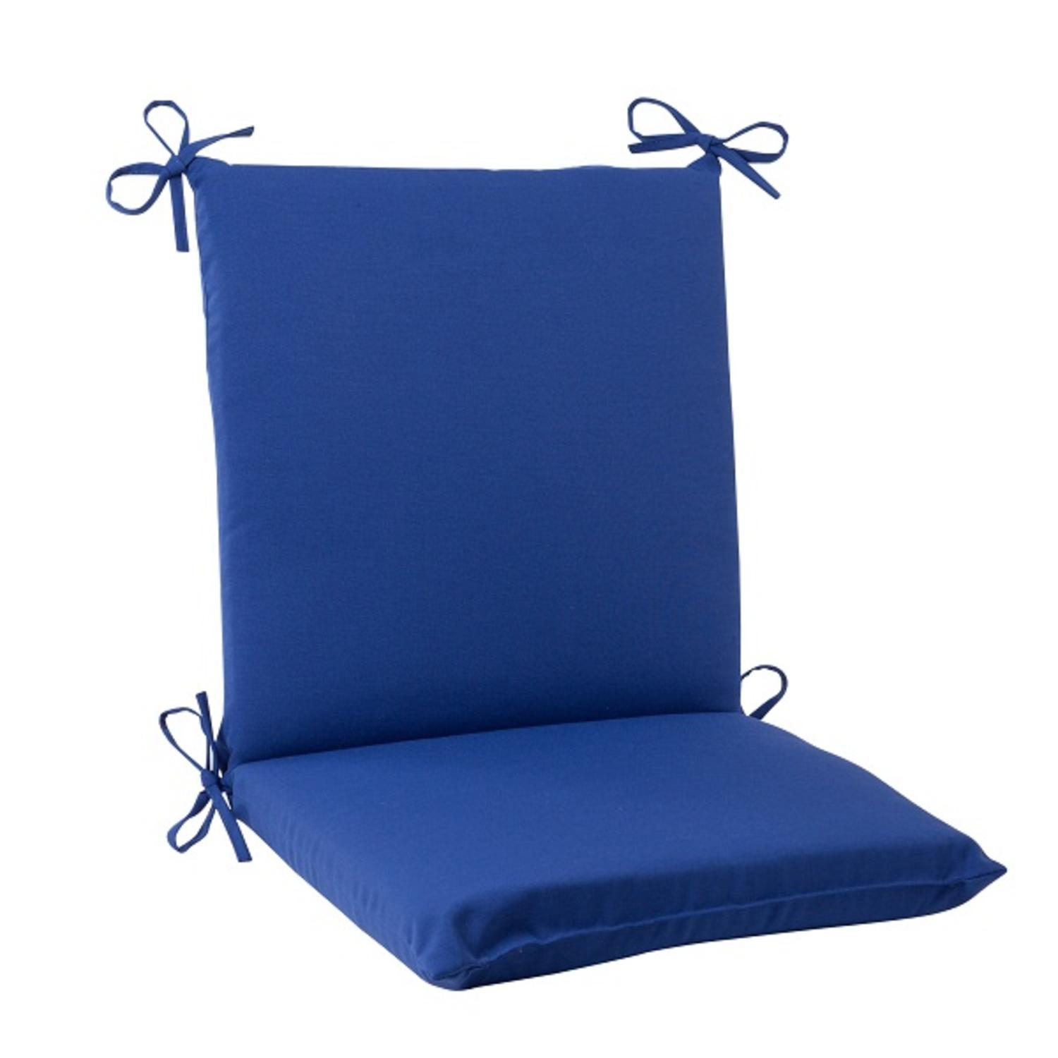 """36.5"""" Traditional Navy Blue Outdoor Patio Squared Chair Cushion with Ties"""
