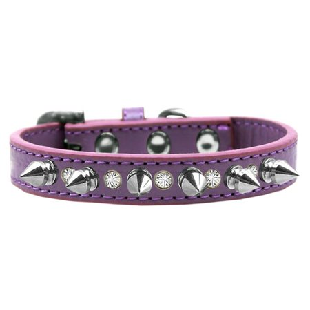mirage 625-sv lv16 crystal and silver spikes dog collar lavender - size - Silver Dog