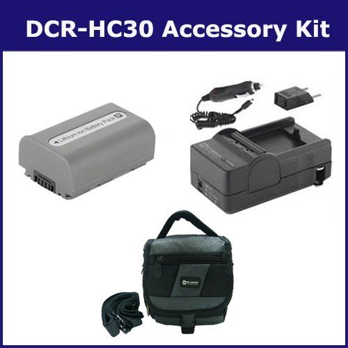 Sony DCR-HC30 Camcorder Accessory Kit includes: SDM-109 Charger, SDC-27 Case, SDNPFP50 Battery