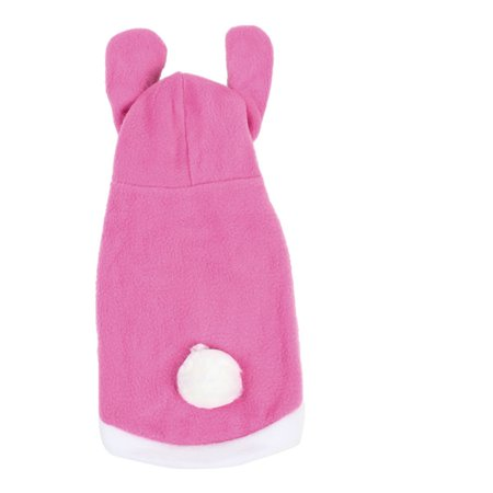 Pink White imitated rabbit Style Single Breasted Hood Puppy Dog Clothes Vest Coat Size - Breasted Rabbit