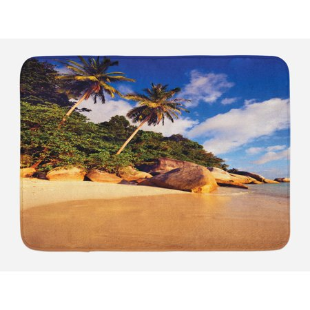 Palm Tree Bath Mat, Tropical Beach Serenity in Nature Exotic Fruit Coconut Rocks Seascape Print, Non-Slip Plush Mat Bathroom Kitchen Laundry Room Decor, 29.5 X 17.5 Inches, Green Brown, Ambesonne