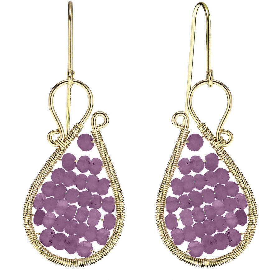 Image of 5th & Main 18kt Gold over Sterling Silver Hand-Wrapped Asymmetric Beaded Amethyst Stone Earrings