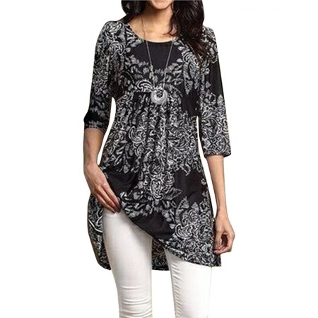 Fashion Women's Vintage Empire Waist Paisley Floral Printed 3/4 Sleeve Flared Tunic Dress Tops Plus Size S-5XL Empire Waist Sash