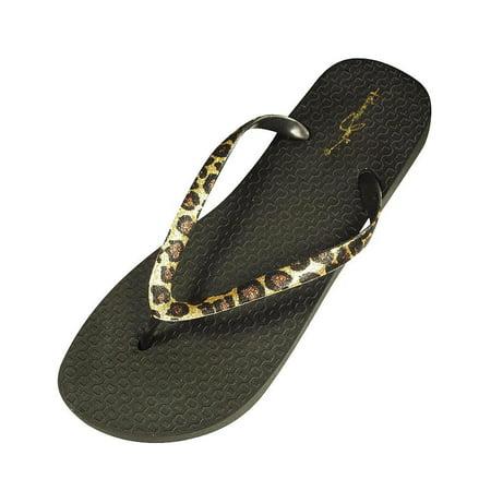 Panama Jack - Ladies Flip Flop Sandal Black Leopard / (Gold Enamel Flip Flop)