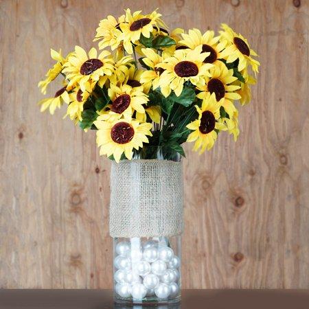 Yellow Sunflower Flowers (Efavormart 140 Yellow Artificial SUNFLOWERS for Wedding Flowers)
