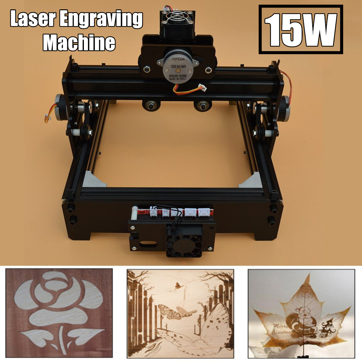 Desktop Laser Engraving Machine 15W USB DC 12V 4A CNC Metal Marking Printer  High Precision