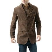 BGSD Men's Brett Suede Leather Blazer with Zip-Out Bib (Regular & Tall)