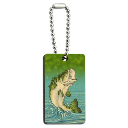 Bass Fish - Fishing Jumping Out of Water Wood Rectangle Key Chain