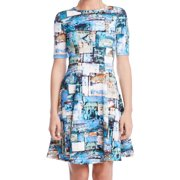 Karen Kane Green Multi Short-Sleeve Printed Fit Flared Dress L