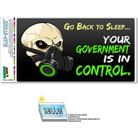 Go Back To Sleep Government In Control Anti Obama New World Order Anarchy Gas Mask Automotive Car Window Locker Bumper Sticker