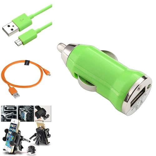 Insten 2x Cable+Green Car Charger+Air Vent Holder For Samsung Galaxy S3 I9300 S4 i9500 Note 2
