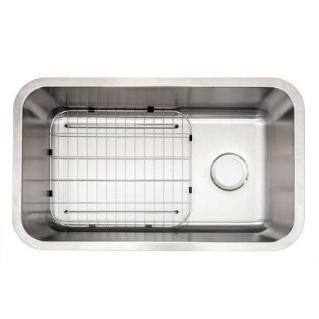 Glacier Bay Undermount Stainless Steel 30 in Kitchen Sink, Drain & Grid  VU3018C1