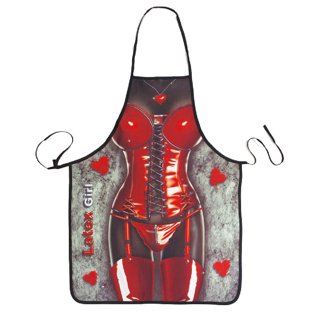 Novelty Cooking Kitchen Apron Sexy Leather Woman Printed Apron Cooking Grilling BBQ Apron