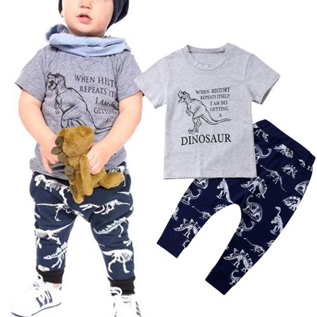 2PCS Toddler Baby Kids Boy Summer Clothes Dinosaur Tops T-Shirt Pants Leggings Outfit Sunsuit - Childrens Dinosaur Outfit