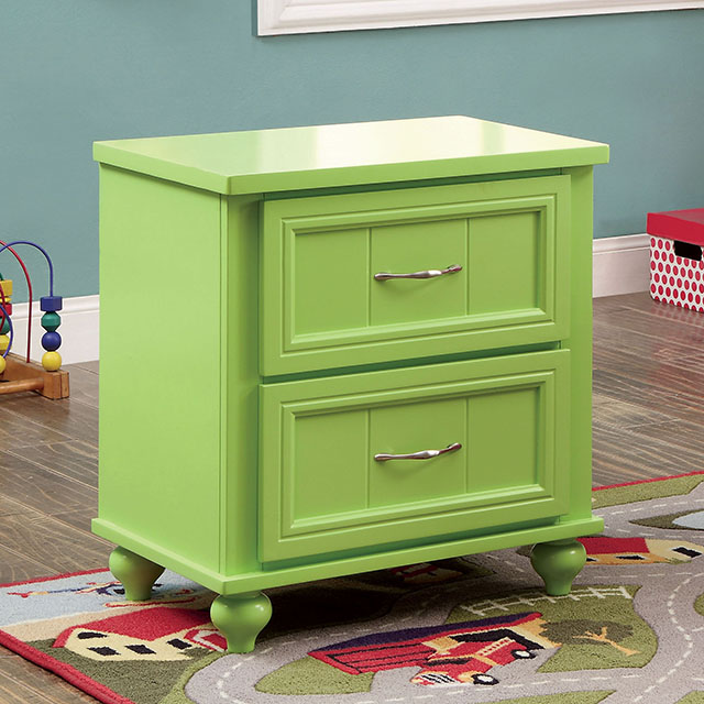 Furniture Of America Lacey Apple Green Youth Bedroom Nightstand With 2 Drawers