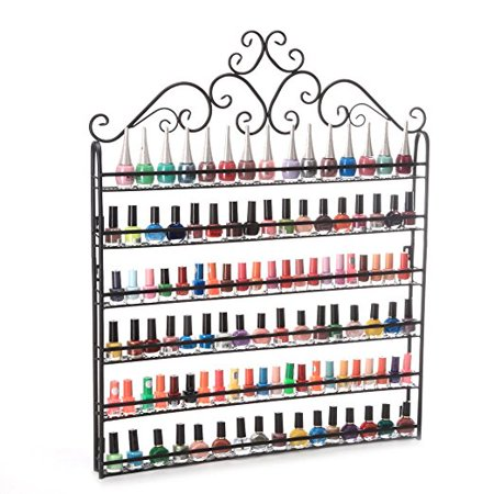 - Dazone Wall Mount 6 Tiers Nail Polish Rack Organizer Hold 120 Bottles Nail Polish Shelf (Black)