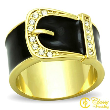 Classy Not Trashy® Size 8 Women's Gold Toned Black Belt Buckle Ring with Clear -