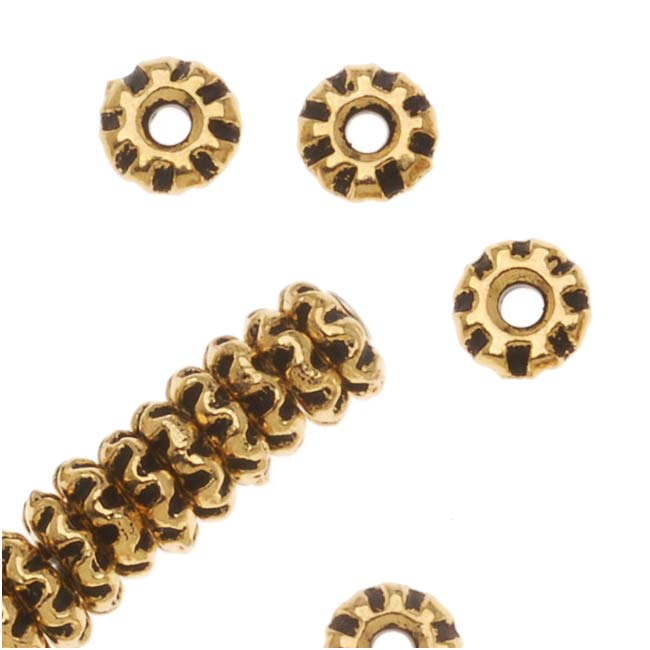22K Gold Plated Pewter Teke Spacer Beads 4mm (50)