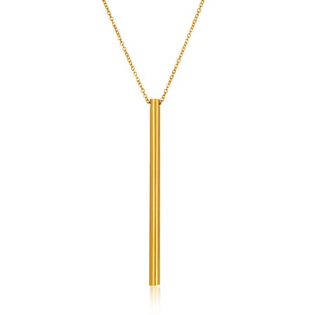 Gold Plated Cylinder Bar Stainless Steel Necklace (1.5mm) - - Gold Plated Cylinder