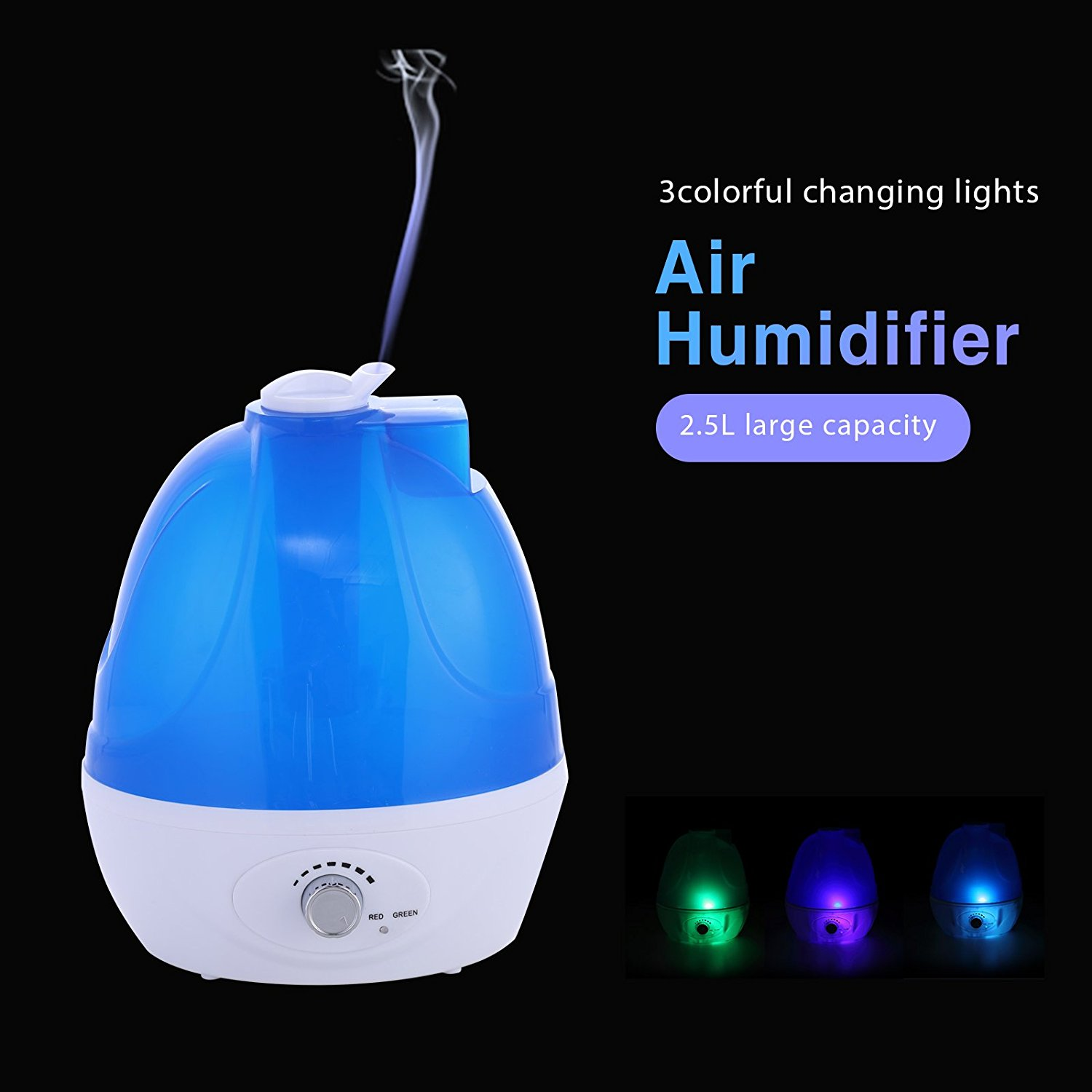 2.5L Ultrasonic Humidifier Cool Mist Filter Portable by Uenjoy