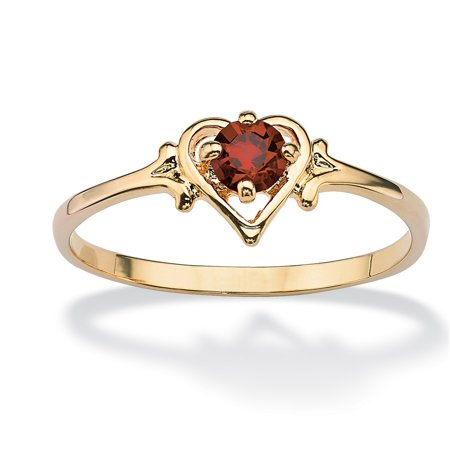 - Oval-Cut Birthstone Heart-Shaped Ring in 14k Gold-Plated - December- Simulated Blue Topaz
