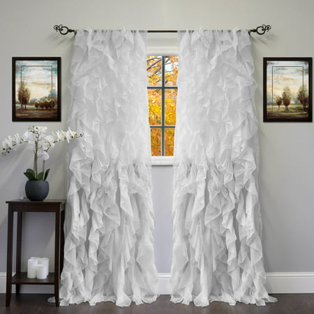 Chic Sheer Voile Vertical Ruffled Tier Window Curtain Single Panel 50