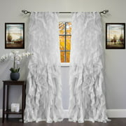 "Chic Sheer Voile Vertical Ruffled Tier Window Curtain Single Panel 50"" x 84"""