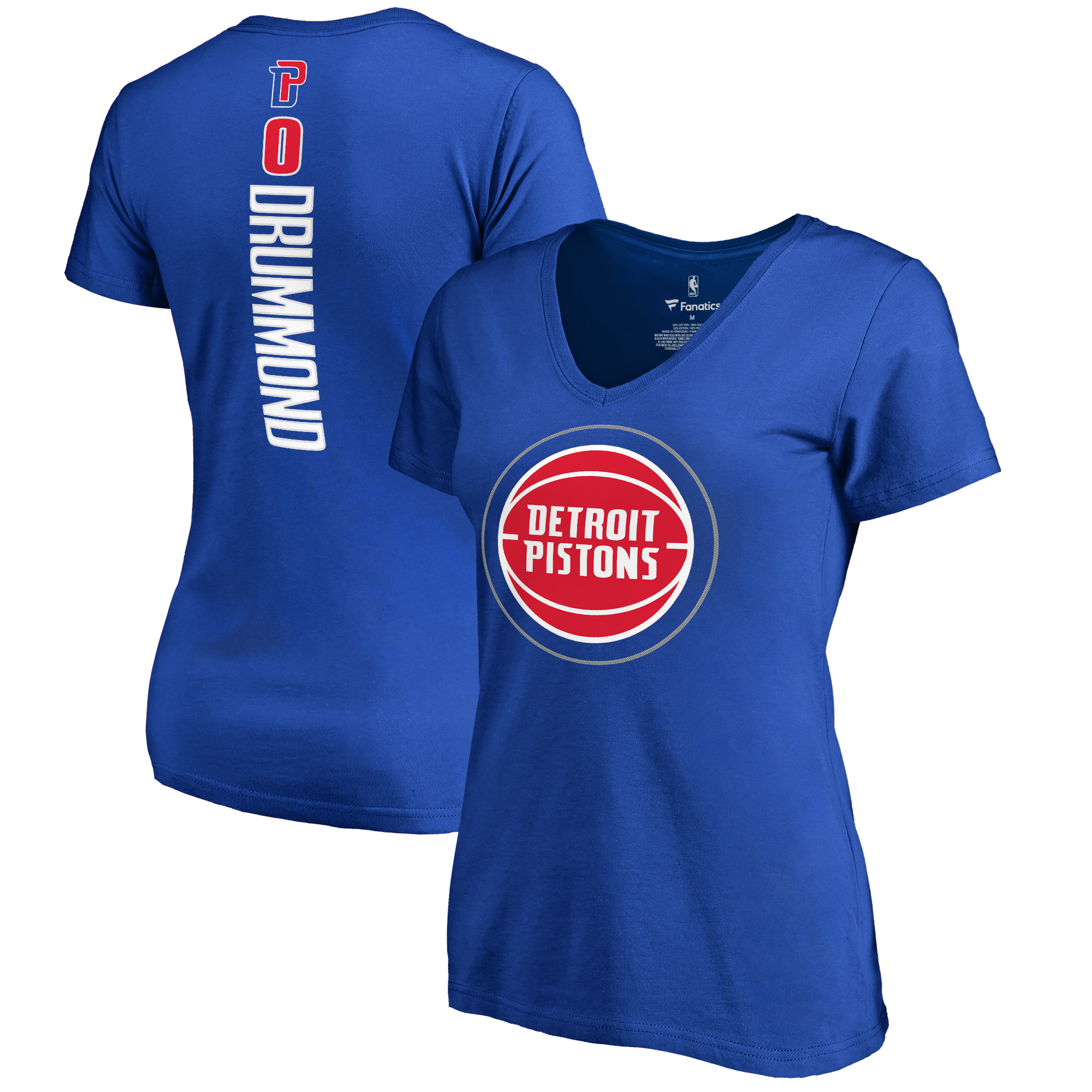 Andre Drummond Detroit Pistons Women's Backer V-Neck T-Shirt - Royal