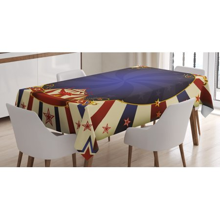 Vintage Tablecloth, Circus Theme Retro Carnival Tent Ribbon Figures Poster Like Image, Rectangular Table Cover for Dining Room Kitchen, 52 X 70 Inches, Navy Blue Red Light Yellow, by Ambesonne (Circus Theme)