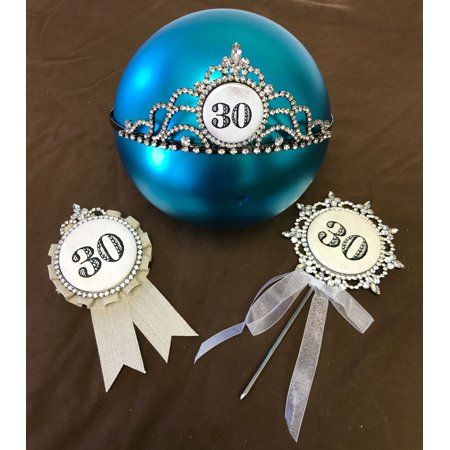 Happy 30th Birthday Cake Topper An Award And A Bling Tiara
