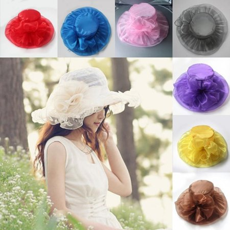Lady Church Summer Beach Derby Hat Sheer Wide Brim Dress Wedding Tea Party
