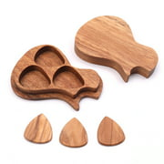 3 Pcs Wooden Guitar Picks with Case Wood Picks for Acoustic Electric Guitars Bass Ukulele Musical Instrument Tool