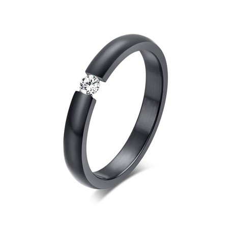 Ginger Lyne Collection Black Plated Stainless Steel 3.5mm Single Crystal Wedding Band Ring - Black Weddings