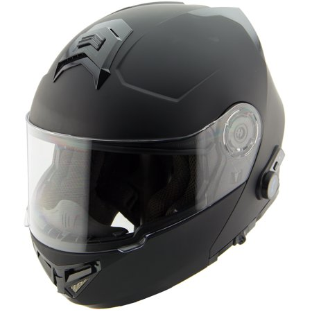 Hawk H7005 Solid Matte Black Modular Motorcycle Helmet With Blinc Bluetooth