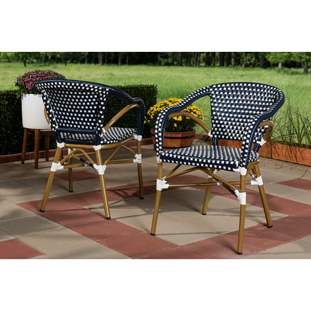 Set of 2 Baxton Studio Eliane Classic French Indoor and Outdoor Navy and White Bamboo Style Stackable Bistro Dining Chair Set ()