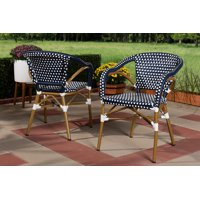 Set of 2 Baxton Studio Eliane Classic French Indoor and Outdoor Navy and White Bamboo Style Stackable Bistro Dining Chair Set