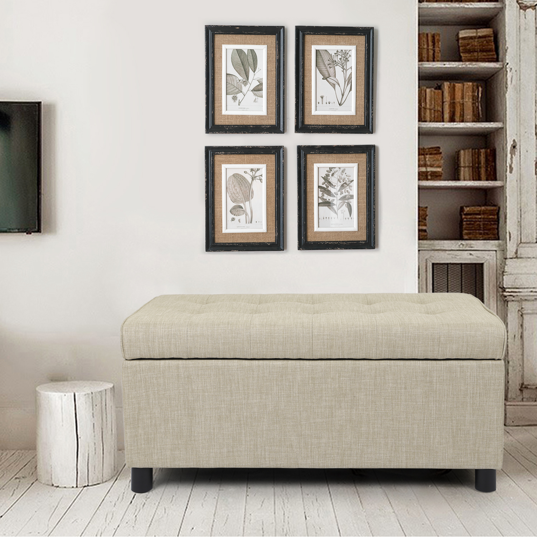 joveco classic tufted fabric rectangular ottoman bench