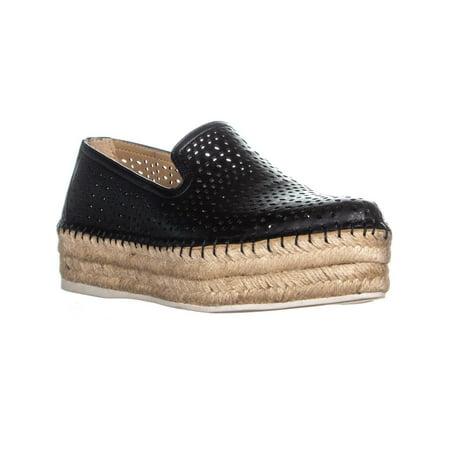 0d4691a24d6 Womens Franco Sarto Elliot Platform Espadrilles Slip On Sneakers, Black  Leather