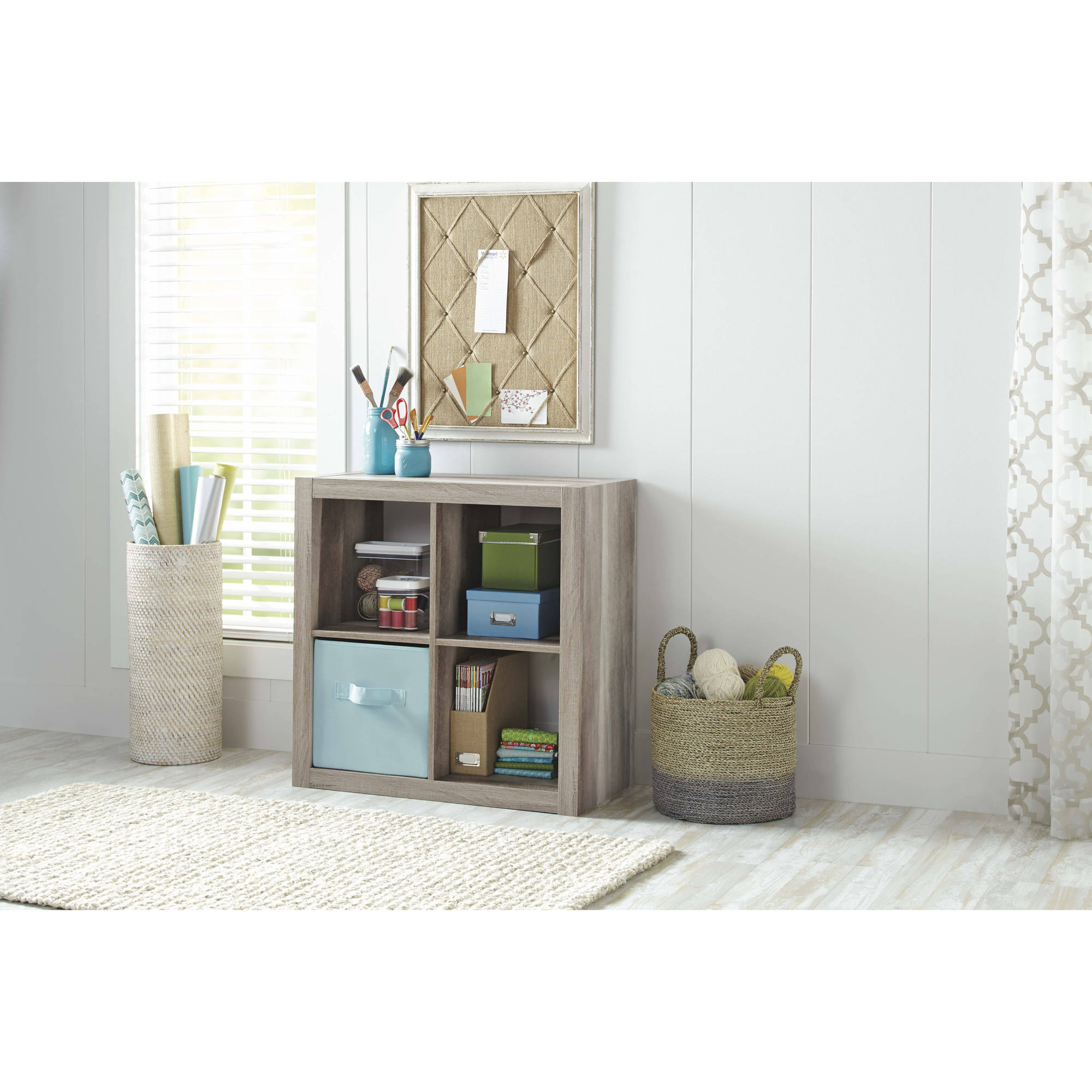 Better Homes and Gardens 4 Cube Organizer, Rustic Gray Finish