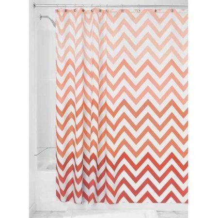 InterDesign Ombre Chevron Fabric Shower Curtain, Standard 72u0022 x 72u0022, Coral/Multi