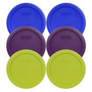 Pyrex Replacement Lids (2) 7201-PC Cobalt Blue, (2) 7201-PC Purple, (2) 7201-PC Edamame Green Round Covers for Pyrex 7201 4 Cup Bowls (Sold Separately)
