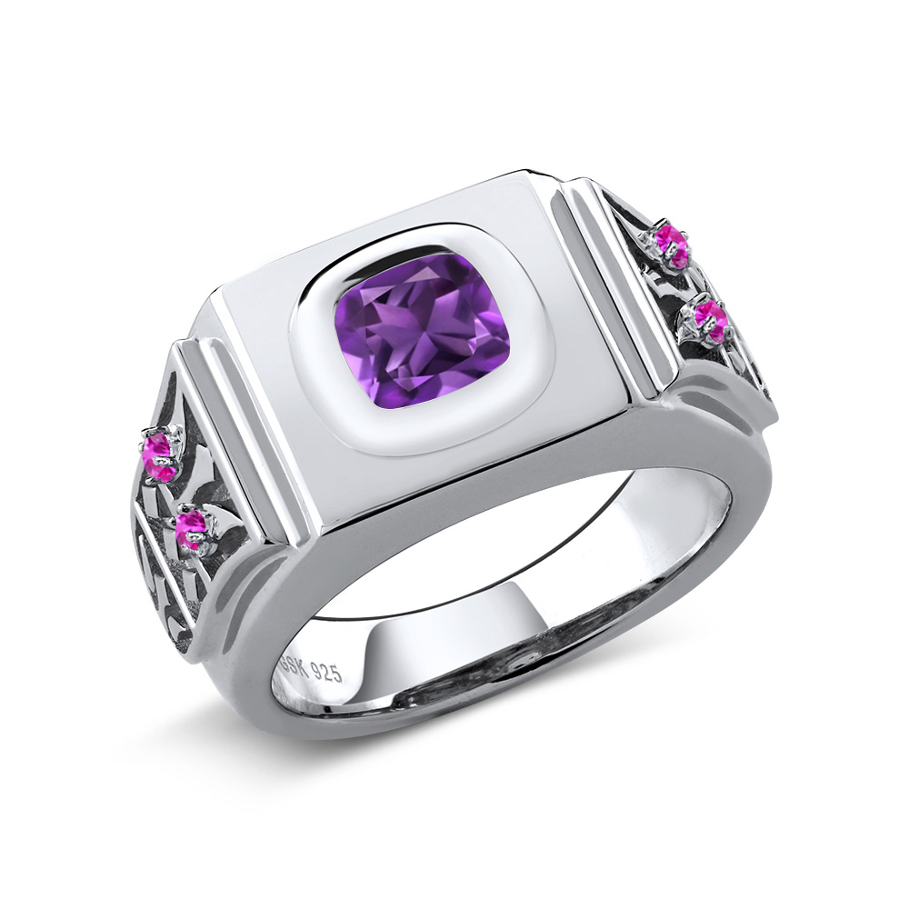 2.09 Ct Cushion Purple Amethyst Pink Sapphire 925 Sterling Silver Men's Ring by