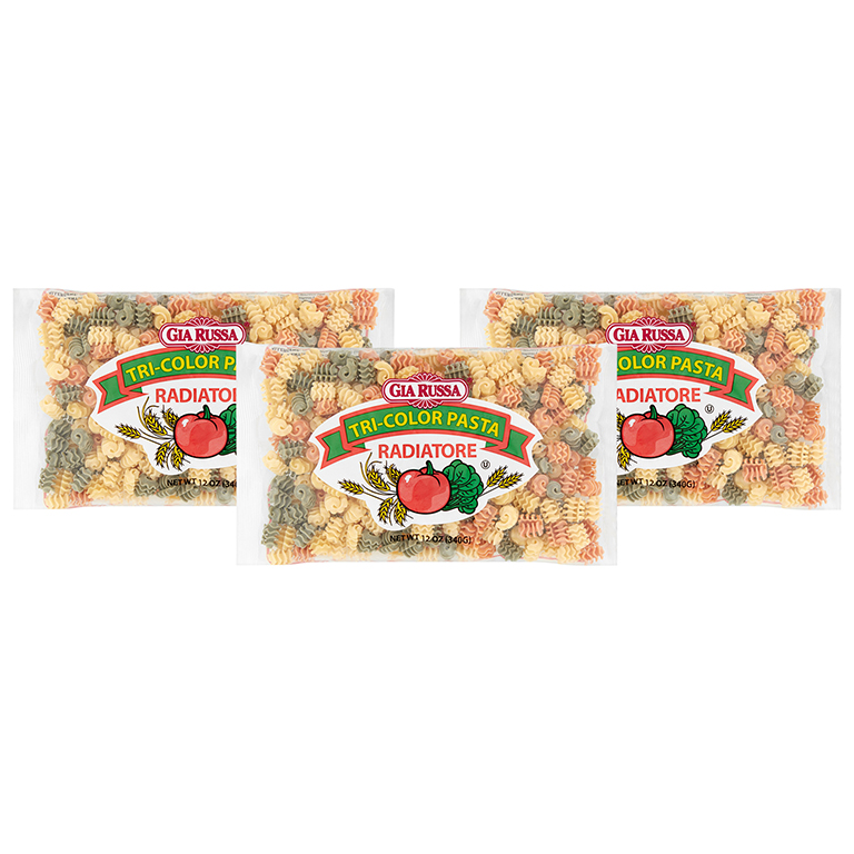 Gia Russa Radiatore Tri-Color Pasta 12 oz (3 Packs)