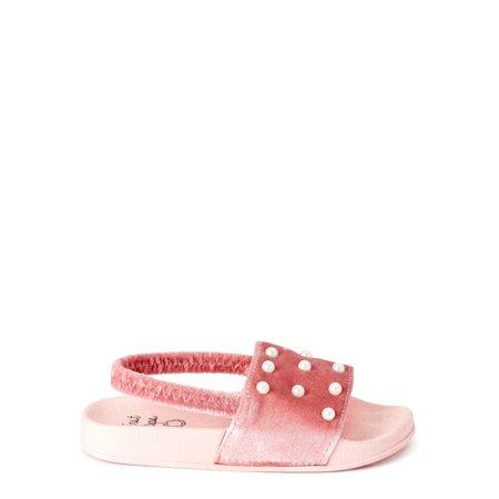 First Steps by Stepping Stones Toddler Girls Velvet Pearl Back-Strap Slide Sandals