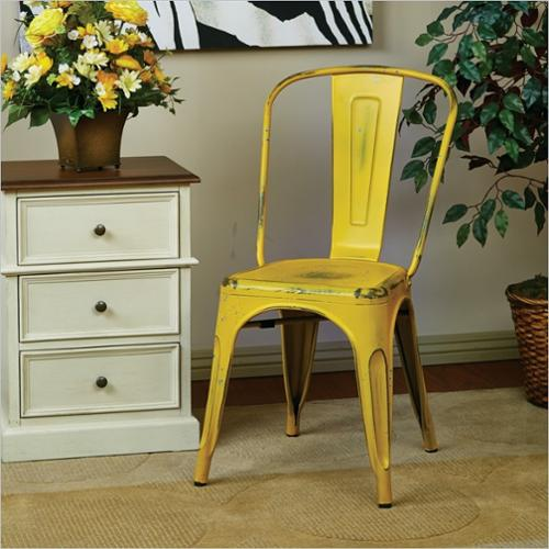 Office Star Bristow Metal Dining Chair in Antique Yellow-Set of 2